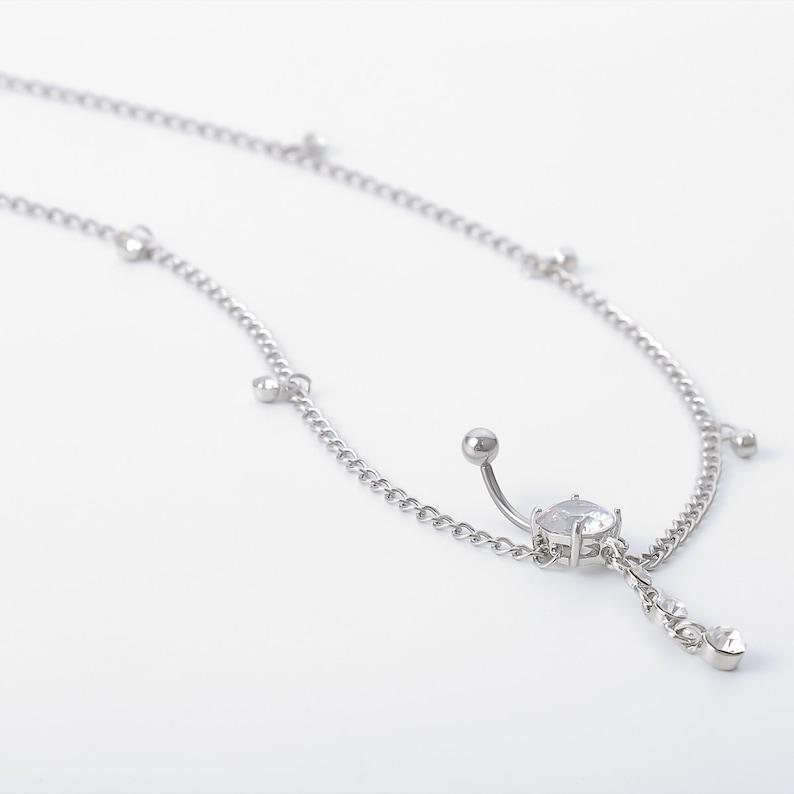 Minimalist Crystal Navel Piercing Belly Chain