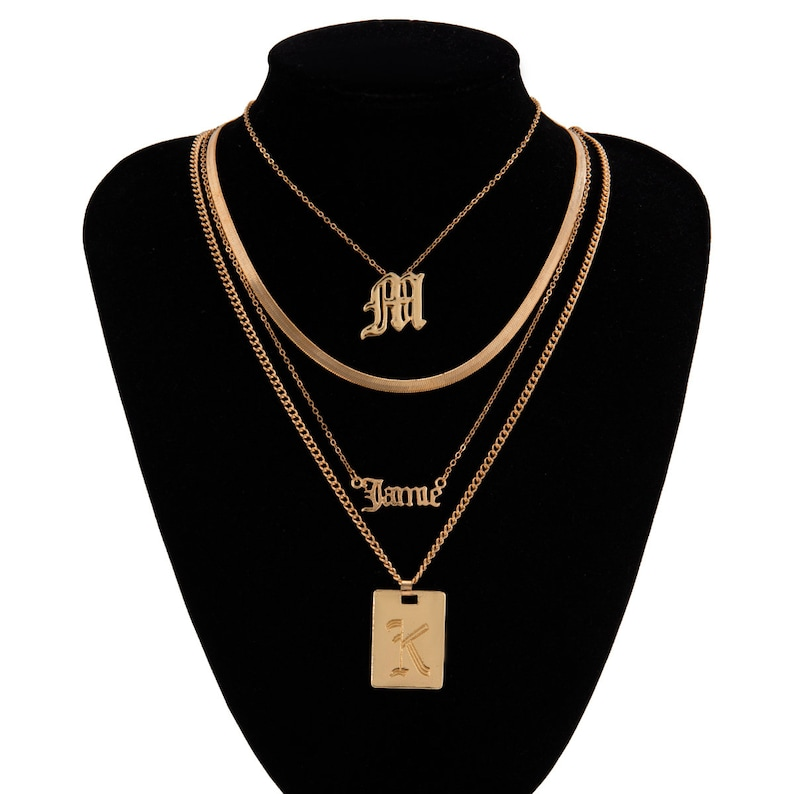 Bohemia Layered Gold Silver Tone Initial Letter Name Choker Necklace Set