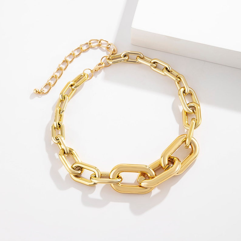 Geometric Gold Silver Plated Irregular Shaped Curb Link Chain Choker Necklace