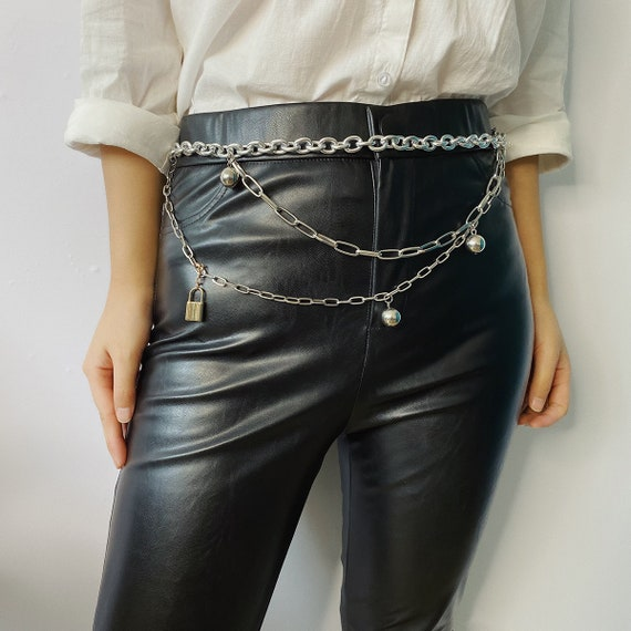 Multi-layer Lock Pendant Waist Chain - Gold Silver Tone Sexy Belly Chain - Trendy layered CCB Ball Pendant Waist Belt