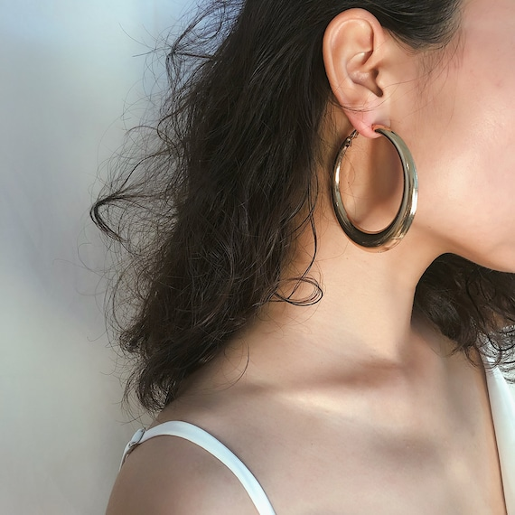 Geometric Gold Silver Tone Oversize Circle Hoop Earrings