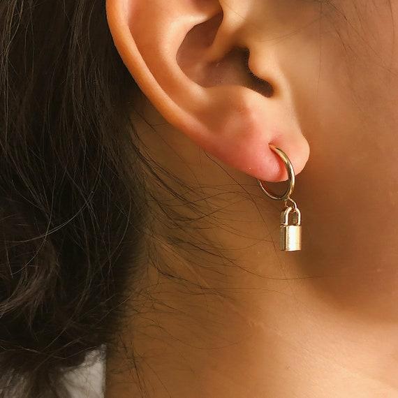 Minimalist Gold Silver Tone Lock Pendant Hoop Earrings