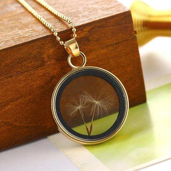 Pressed Flower Dandelion Seed Pendant Necklace - Dried Pressed Flower Charms Pendant Necklace