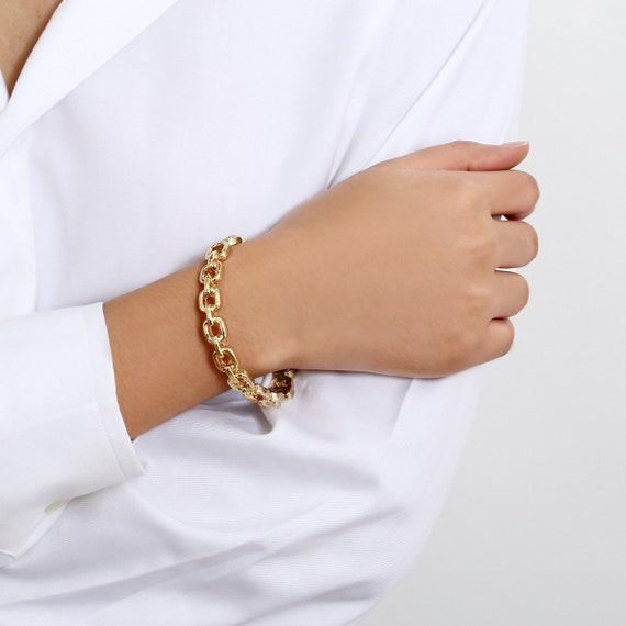 Geometric Gold Tone Chain Shape Bangle Bracelet