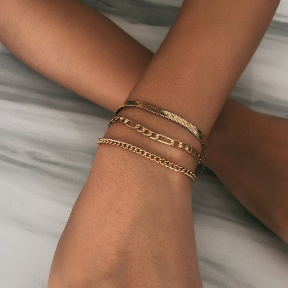 Trendy Layered Gold Silver Tone Curb Link Chain Bracelet