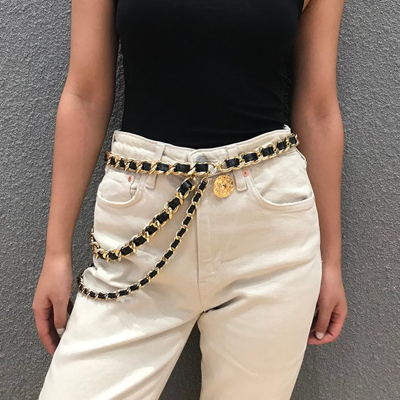 Sexy Gold Tone Leather Interwoven Waist Chain - Multi-layer Relief Coin Pendant Belly Chain - Trendy Layered Body Chain