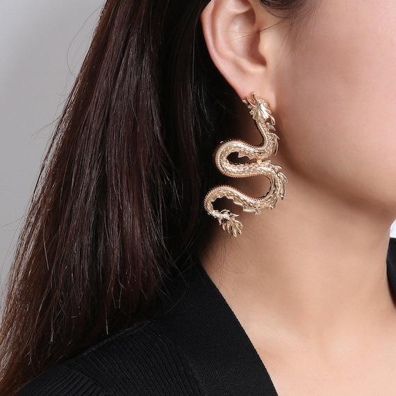 Oversize Gold Silver Tone Dragon Earrings