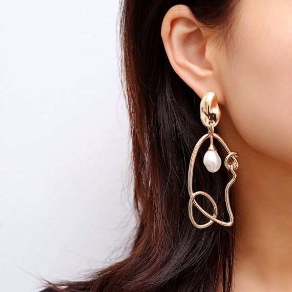 Geometric Gold Silver Tone Abstract Pattern Pearl Dangle Earrings