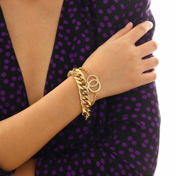 2 PCS Trendy Gold Tone Twisted Ring Curb Link Chain Bracelet Set
