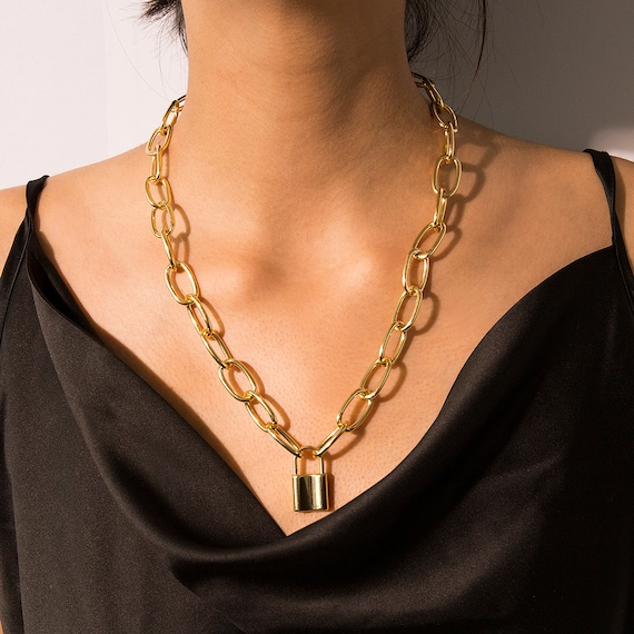 Gold Silver Tone Chunky Curb Link Chain Lock Pendant Necklace - Metal Chain Necklace Statement Jewelry
