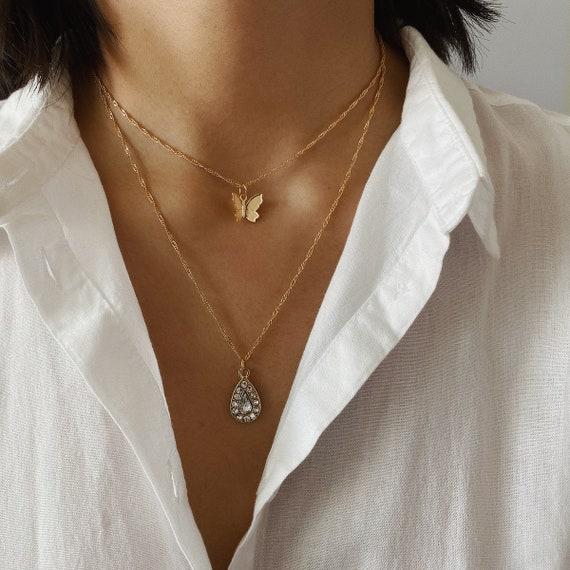 Dainty Gold Silver Tone Rhinestone Water Drop Butterfly Pendant Choker Necklace