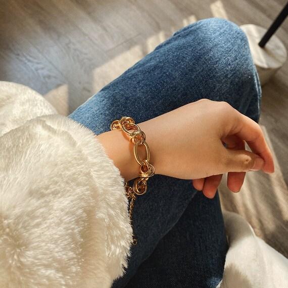 Bohemian Gold Tone Oval Ring Chain Bracelet