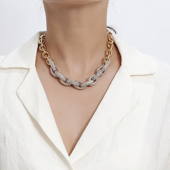 Chunky Rhinestone Inlaid Curb Link Chain Choker Necklace