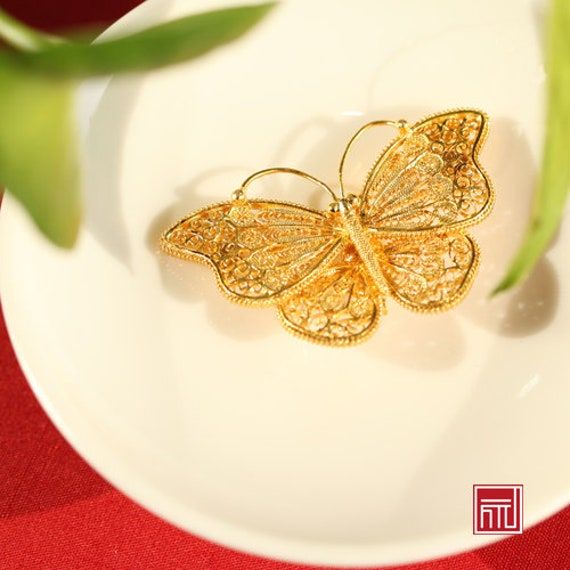 Handmade Gold Plated Sterling Silver Filaments Inlaid with Enamel Butterfly Brooch