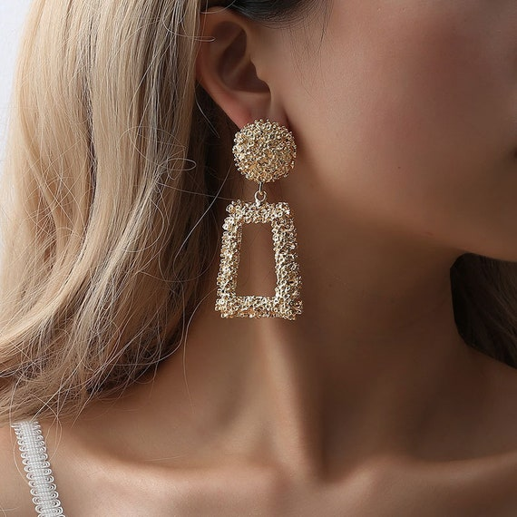 Geometric Gold Silver Tone Hollow Dangle Earrings - Embossed Big Hollow Drop Earrings