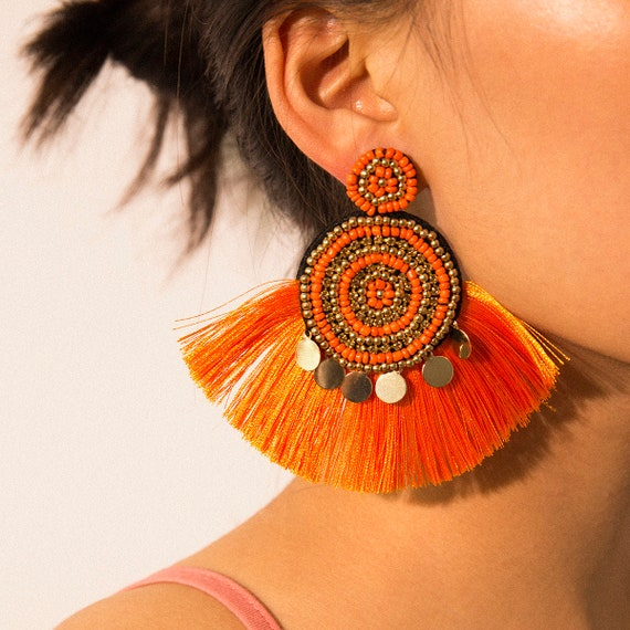 Bohemian Handmade Seed Bead Tassel Oversize Earrings