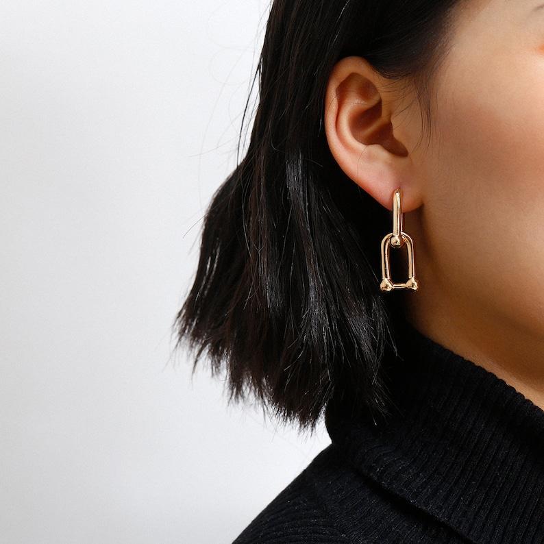 Minimalist Gold Silver Tone Metal Chain Dangle Earrings