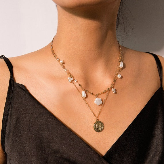 Multi-layer Beaded Pearl Tassel Relief Coin Pendant Necklace