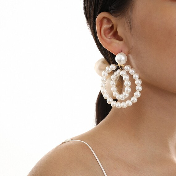Baroque Style Twin Circle Oversize Beaded Pearl Statement Hoop Earrings