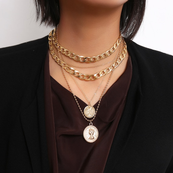 Multi-layer Curb Link Chain Embossed Disk Pendant Choker Necklace