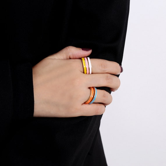 Minimalist Candy Color Ring Set