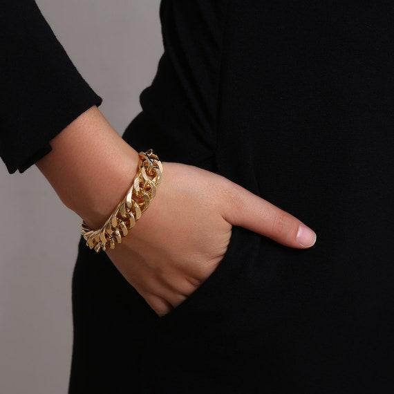 Chunky Metal Cuff Bracelet - Gold Silver Tone Twisted Ring Bracelet