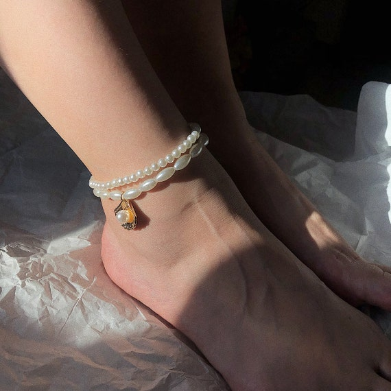 Bohemian Conch Charm Seed Beaded Pearl  Anklet Set
