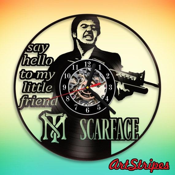 Scarface Vinyl Wall Clock Handmade Art Tony Montana Gangster Etsy