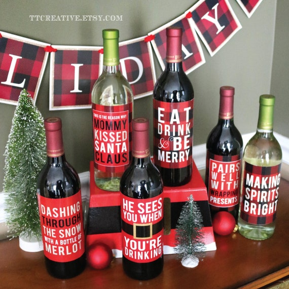 MERRY CHRISTMAS Santa ~ 4 X 6 Red Table Wine Craft Bottle Label Sticker Set Sign