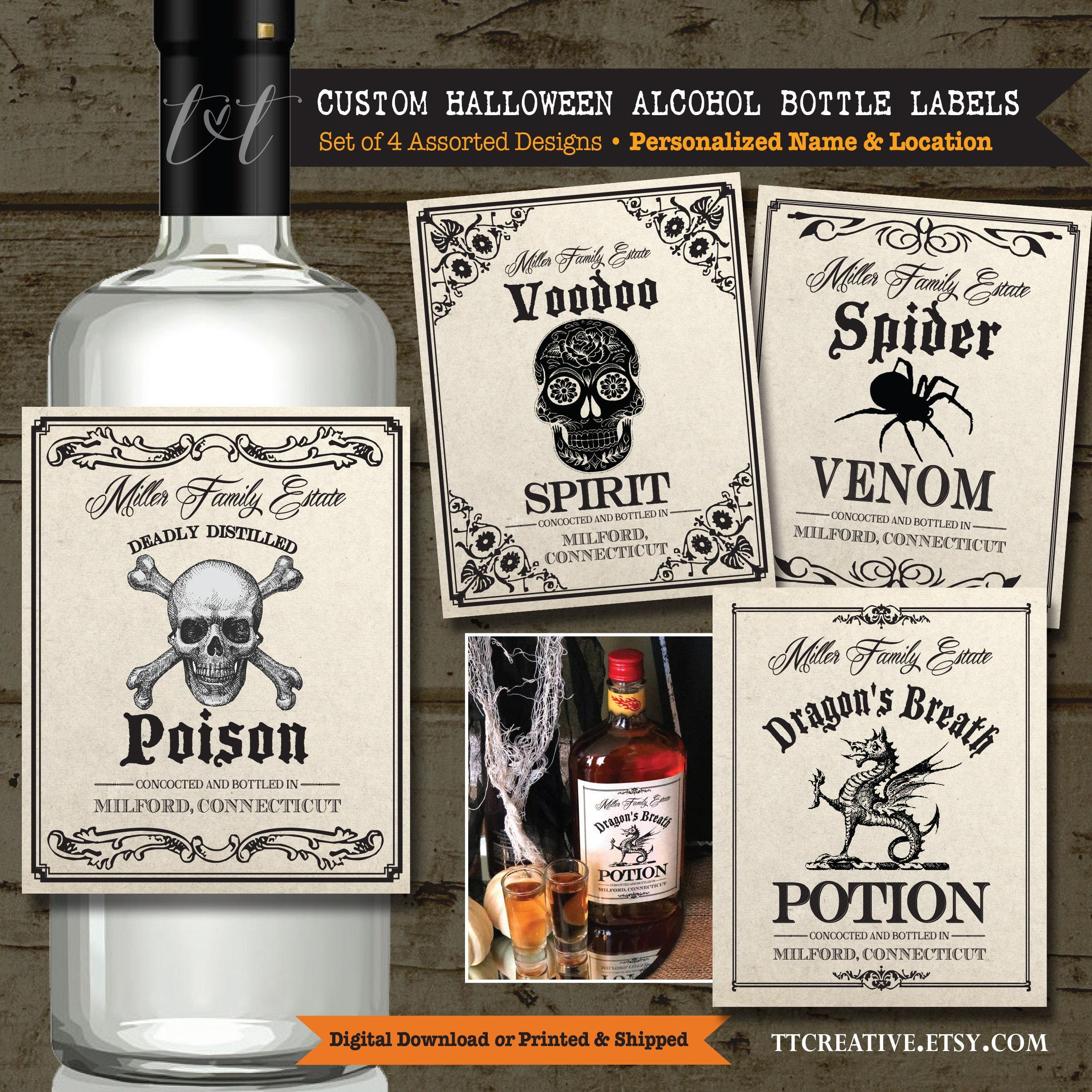 Vintage PERSONALIZED HALLOWEEN Liquor Bottle LABELS Custom