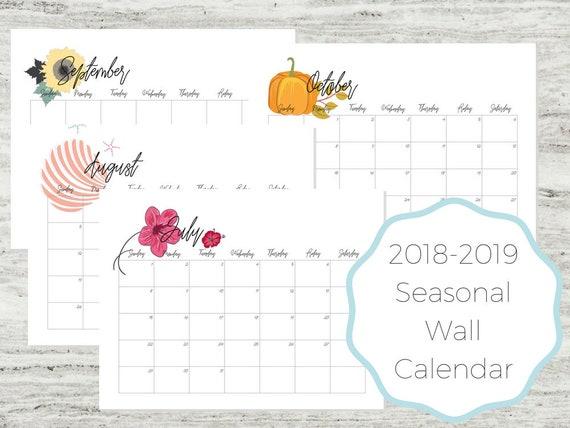 July 2018 June 2019 Calendar 2018 2019 Calendar Wall Etsy