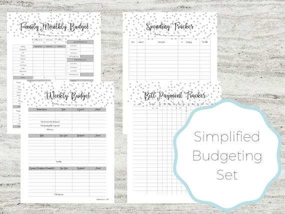 budgeting set budget printables easy budgeting family etsy