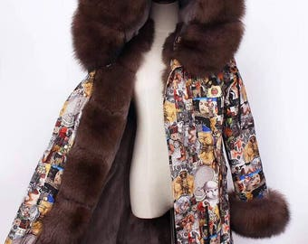 Brown colorful fox parka jacket