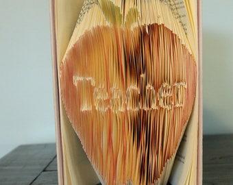 Apple For Teacher - Folded Book Art