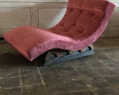 Adrian Pearsall for Craft Associates Modern Wave Chaise Lounge in dusty Pink Velvet