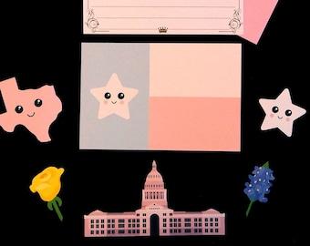 Texas Kawaii Stationery Set: 10 Memo Sheets, 2 Envlopes, 5 Stickers