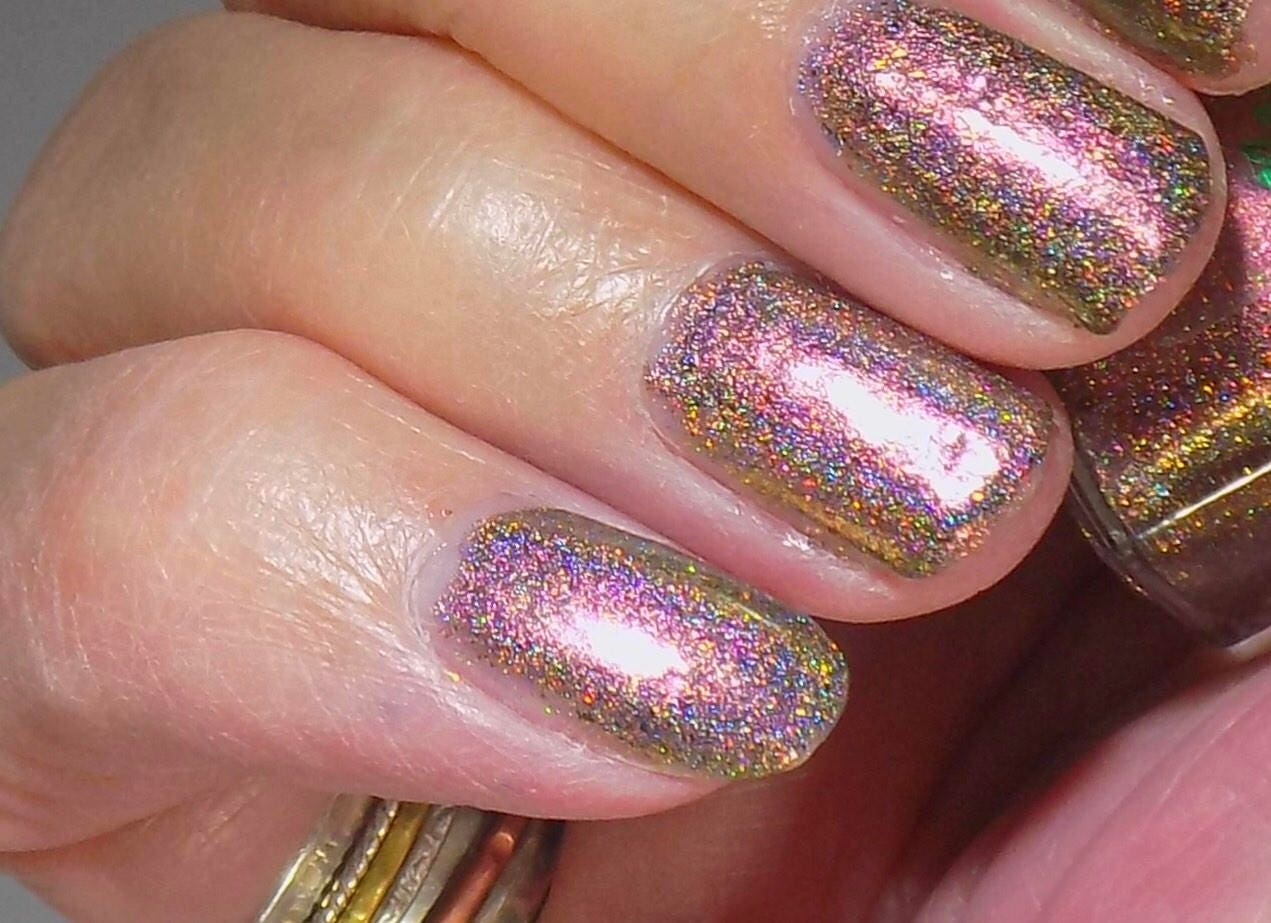 Bronze Ultra Chrome Nail Polish Golden Brown Micro Holo Chameleon ...