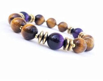 12 MM Cognac & Purple Tiger Eye Beaded bracelet