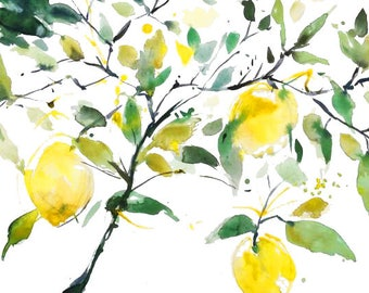 Lemon branch watercolor print, original watercolor art, lemon art, citrus decor