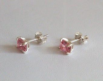 Emerald Cut Pink CZ & Sterling Silver Stud Earrings