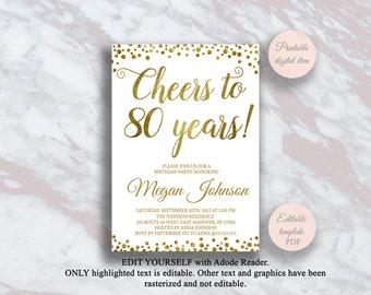 Editable 80th Birthday Invitation Cheers To 80 Years Gold Confetti Party Anniversary Invite Surprise S11bd