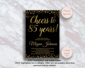 Editable 85th Birthday Invitation Cheers To 85 Years Black And Gold Party Anniversary Invite Surprise S11bd