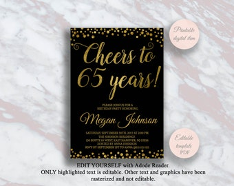 Editable 65th Birthday Invitation Cheers To 65 Years Black And Gold Party Anniversary Invite Surprise S11bd