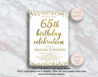 Editable 65th Birthday Invitation Gold Confetti 65 Years Party Celebration Invite Surprise S2bd