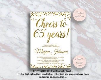 Editable 65th Birthday Invitation Cheers To 65 Years Gold Confetti Party Anniversary Invite Surprise S11bd
