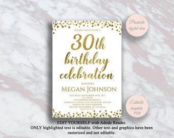 Editable 30th Birthday Invitation Gold Confetti 30 Years Party Celebration Invite Surprise S2bd
