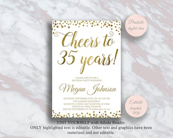 Editable 35th Birthday Invitation Cheers To 35 Years Gold Confetti Party Anniversary Invite Surprise S11bd