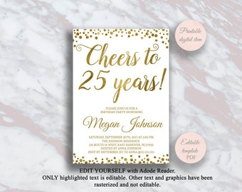 Editable 25th Birthday Invitation Cheers To 25 Years Gold Confetti Party Anniversary Invite Surprise S11bd