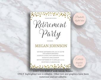 Retirement invites etsy retirement party invitation editable pdf template gold confetti retirement party invite retirement invitation retirement party ideas s3rt stopboris Images