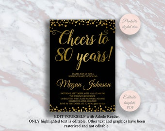Editable 80th Birthday Invitation Cheers To 80 Years Black And Gold Party Anniversary Invite Surprise S11bd